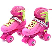 IRIS Roller Skates for Kids, PP and PVC Wheel with LED Lights Adjustable Double Row Skate Rollerblades for Beginners/Children/Boys/Girls (Medium)