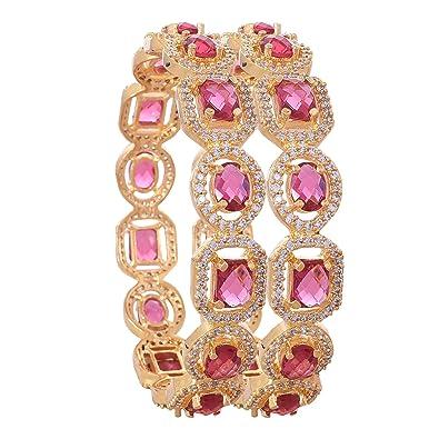 d35984adb0b Ratnavali jewels American Diamond Studded Gold Plated Traditional Ruby Red  Rani CZ/Diamond Bangles for