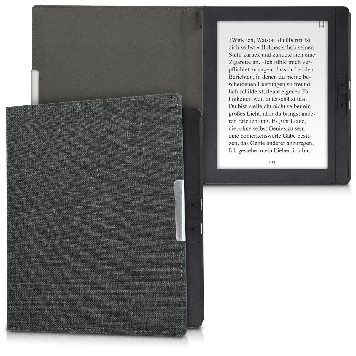 kwmobile Case for Pocketbook InkPad 2 - Book Style Fabric Protective e-Reader Cover Flip Folio Case - dark grey