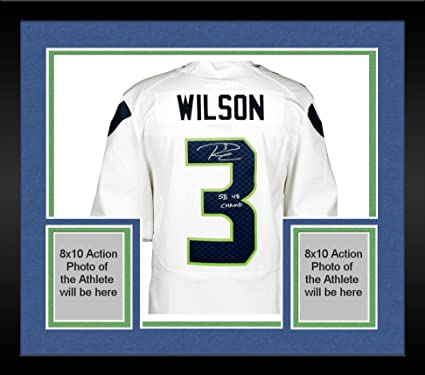 Framed Russell Wilson Seattle Seahawks Autographed Nike White Elite Jersey  with SB 48 Champs Inscription - c613be893