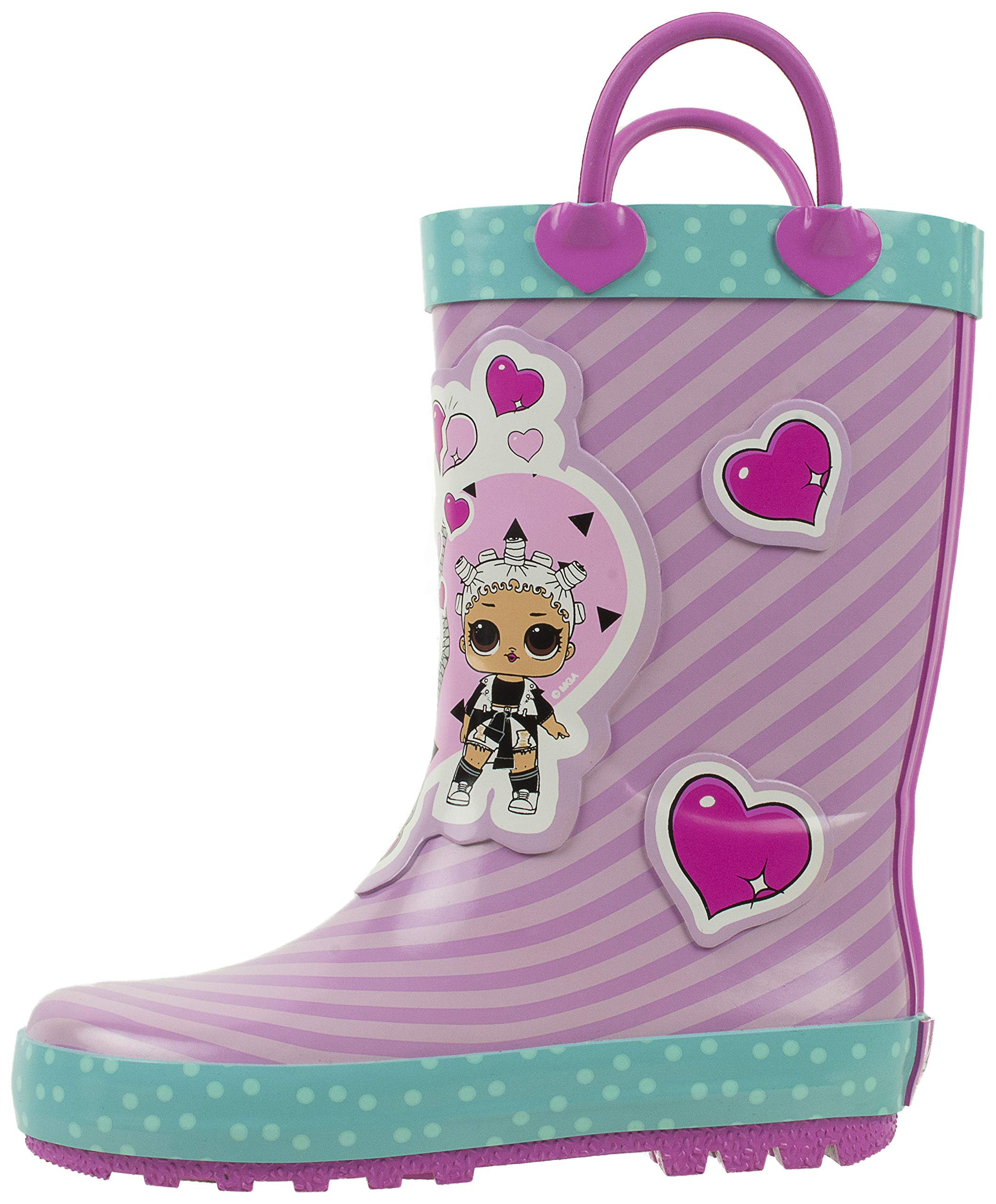 L.O.L Surprise! Girls Rainboots,Fancy and Fresh,100% Rubber,Waterproof,Easy-on Handles,Purple Pink,Little Kid Size 11/12 by L.O.L Surprise!