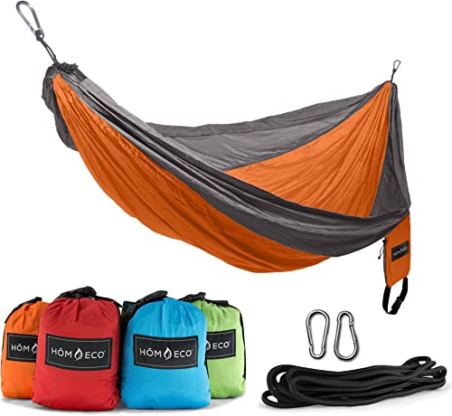 Camping Hammock Double Lightweight Nylon Portable Parachute Hammock Automatic with Mosquito Net Outfitters for Indoor ,Outdoor , Hiking,Beach ,Backpacking ,Survival Travel Swing Army Green