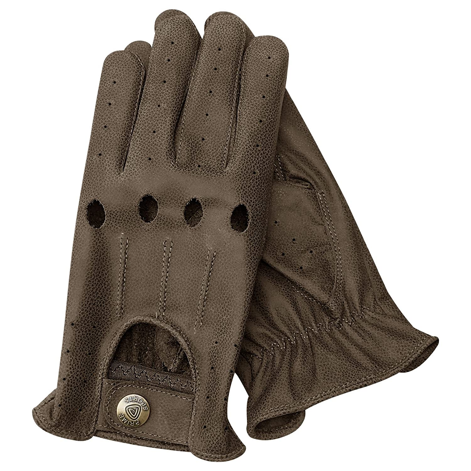 Prime Driving Gloves With Italian cow Kashmira leather two tone slim fit unlined metal button fasten 507