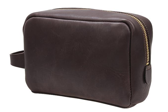 11a155aa4d8b Leather Toiletry Bag Bathroom Dopp Kit Travel Accessories Bag MT2 (dark  brown)