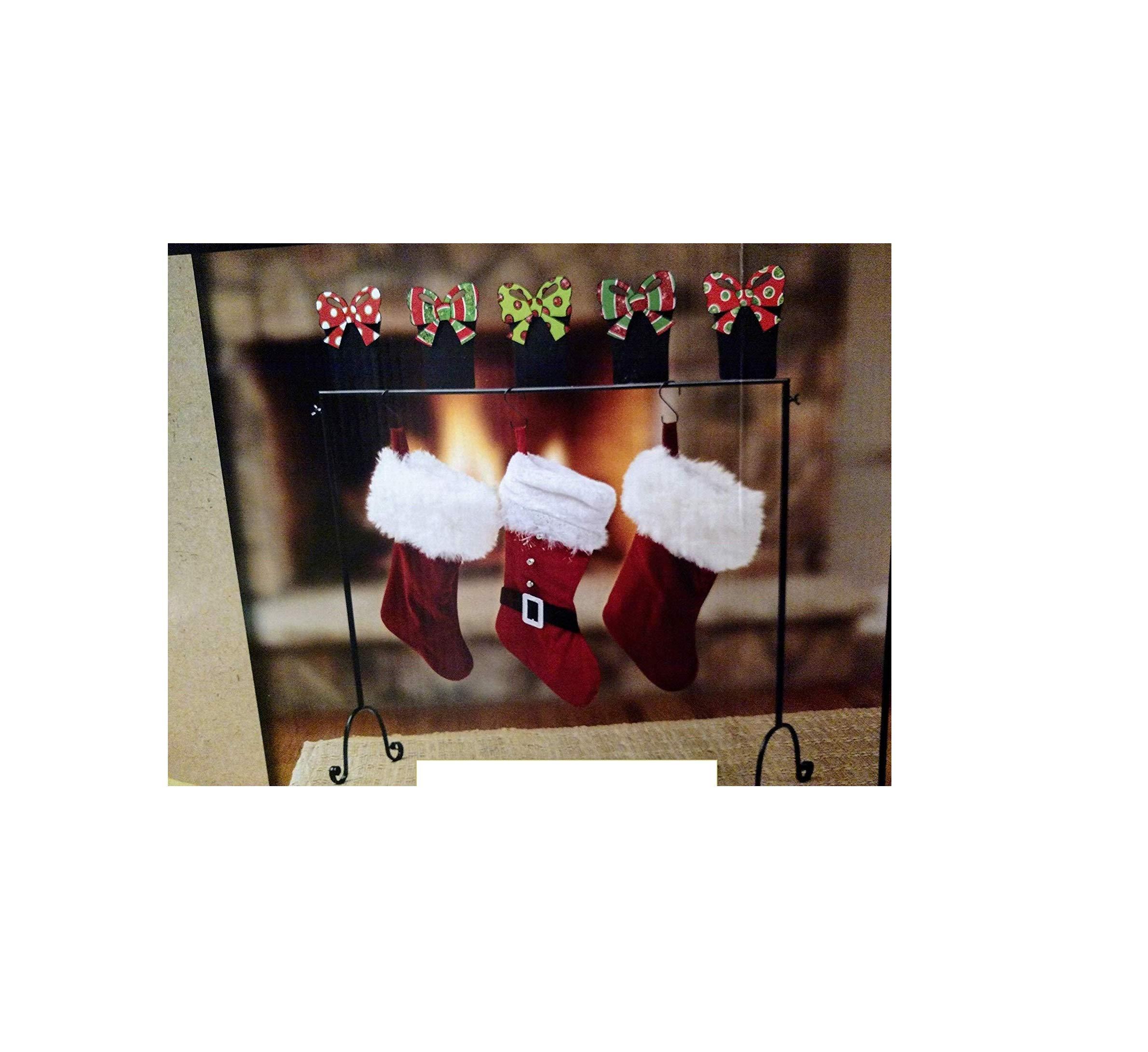 Nantucket Home Metal Freestanding Floor Christmas Stocking Holder Chalkboard Ornaments Design
