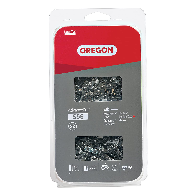 Oregon S56T AdvanceCut 16-Inch Chainsaw Chain, Fits Husqvarna, Echo, Craftsman, Homelite, Poulan (2-Pack)
