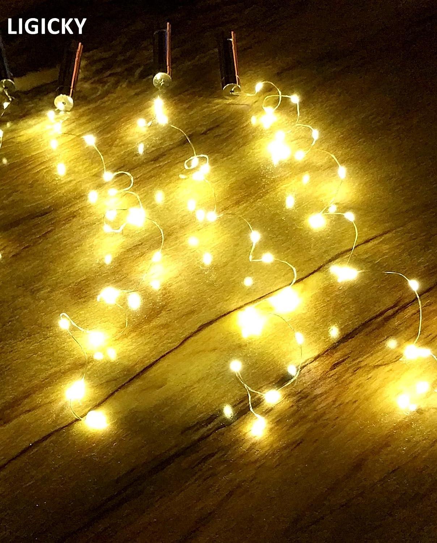 Party LIGICKY 4 Pack Warm White Wine Bottle Cork Light Battery Powered 30inch 15 LED Starry Mood Copper Wire String Lights for Bottle DIY Wedding or Mood Lights Christmas Decor Halloween