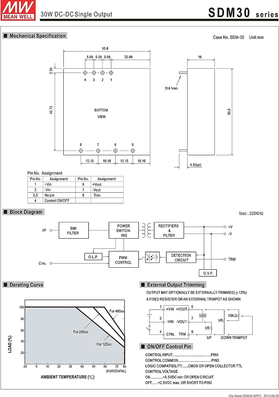 MEAN WELL SDM30-24S15 15V 2A 30W DC-DC Single Output DC//DC Converter