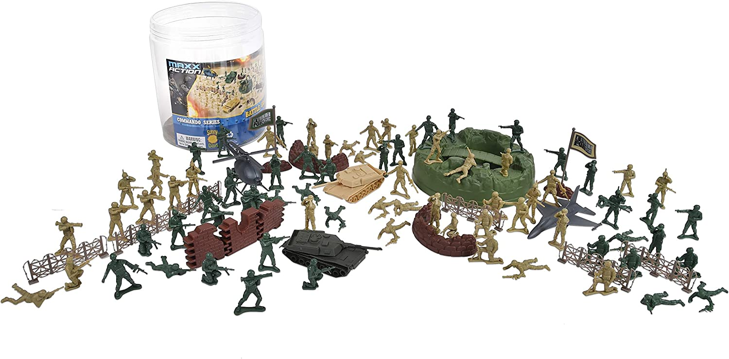 Military Battle Group Bucket – 100 Assorted Soldiers and Accessories Toy Play Set For Kids, Boys and Girls   Plastic Army Men Figures with Storage Container