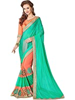 Ambika Sarees Collection Embroidered Multi Colour Georgette And Lycra Saree With Blouse Material