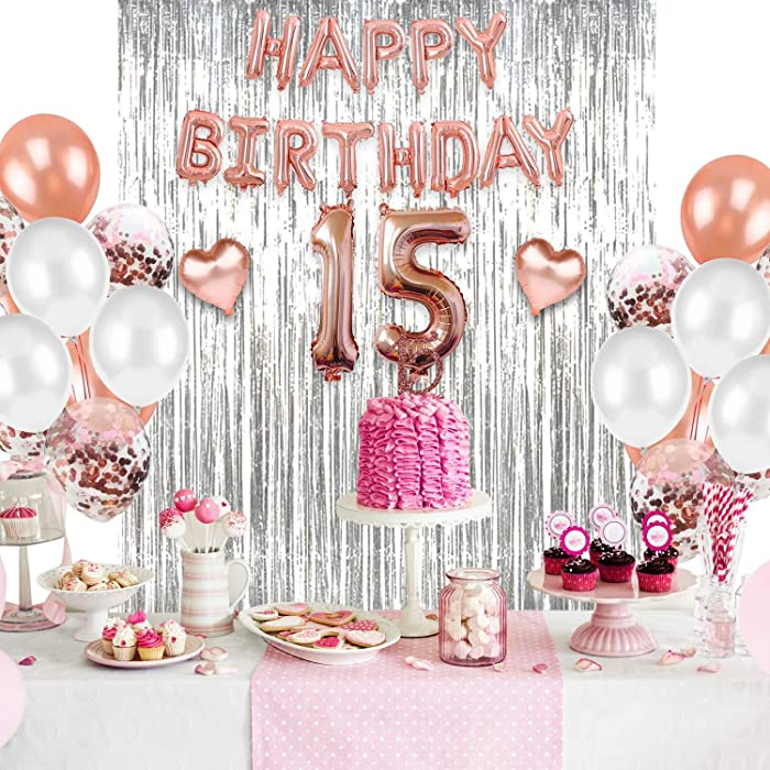 15th Birthday Balloons, Party Balloons Set, Latex Balloons Decorations & 12 Inch Balloons, includes 15th Birthday Tiara, Sash, Cake Topper, 15th Birthday Party Supplies, Girl Birthday Balloons