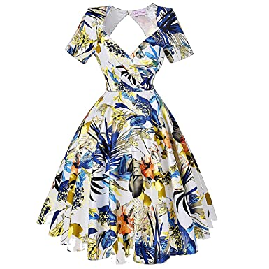 Casual Retro Rinup Rockabilly 50s Vintage Dress Floral Short Sleeve Hollow Vestidos Dress,1,