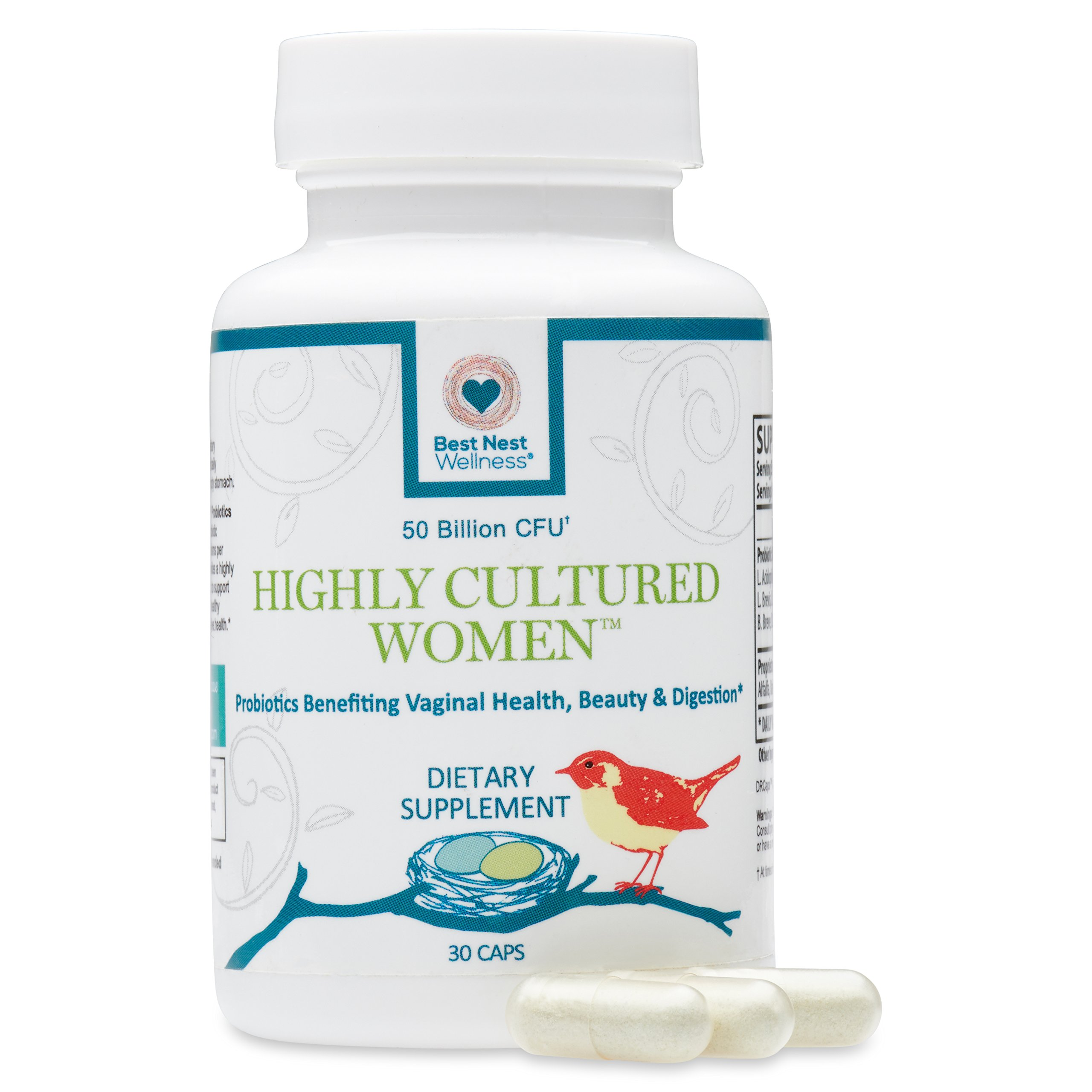 Highly Cultured Women's Probiotics 50 Billion CFU | 13 Strains, 2x Most Probiotic Supplements with Acidophilus, Patented Time Release Capsules, Once Daily Probiotic Supplement, 30 Ct, Best Nest