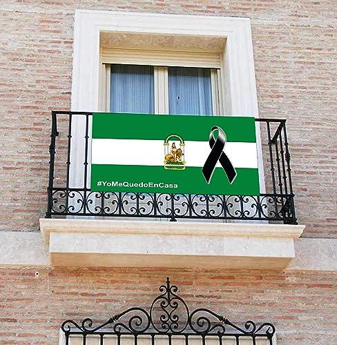 Pancarta, Bandera con lazo negro, crespón, [120x60cm] lona para balcón, Bandera de Andalucía: Amazon.es: Handmade