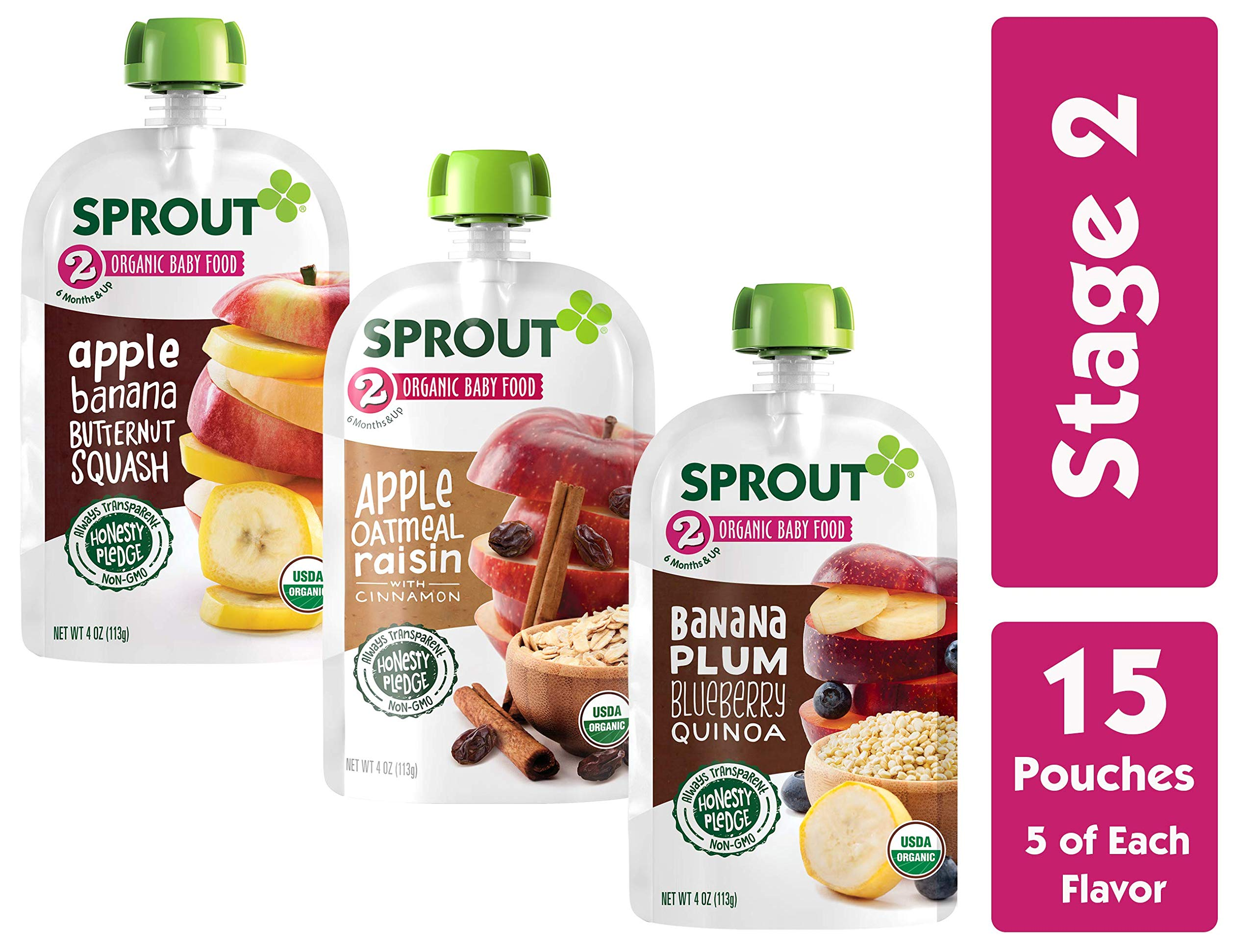 Sprout Organic Stage 2 Baby Food Pouches, Variety Pack, 4 Ounce (Pack of 15) 5 Each: Apple Oat Raisin w/ Cinnamon, Banana Plum Blueberry Quinoa & Apple Banana Butternut by Sprout