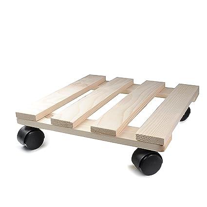 Planta rodillo de madera (30 cm x 30 cm rectangular con ruedas de plástico,