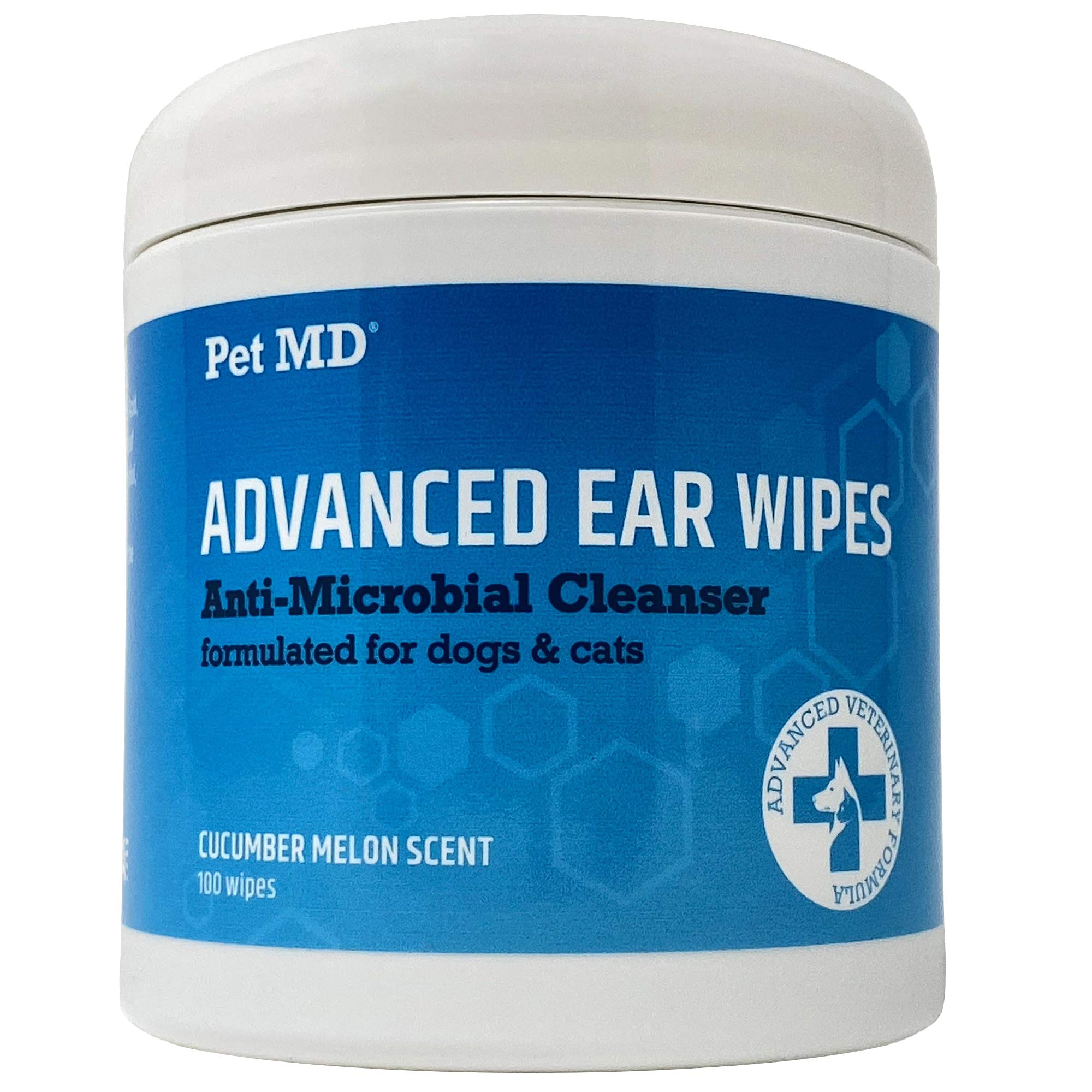 Pet MD Cat and Dog Ear Cleaner Wipes - Advanced Otic Veterinary Ear Cleaner Formula - Dog Ear Infection Treatment Eliminates Yeast and Bacteria - 100 Alcohol Free Ear Wipes with Soothing Aloe Vera by Pet MD