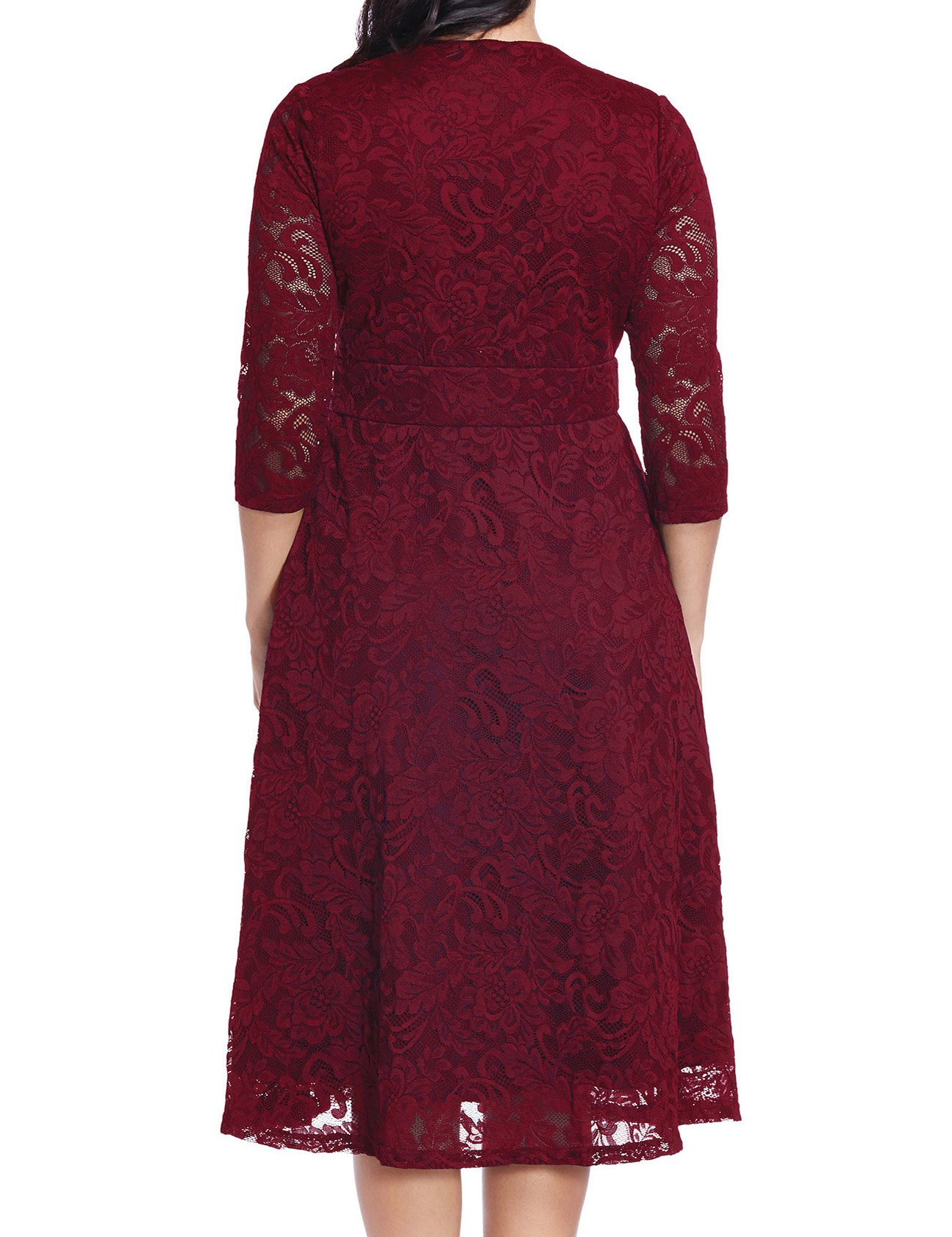 GRAPENT Women's Lace Plus Size Mother Of The Bride Skater Dress Bridal Wedding Party Maroon 16W by GRAPENT (Image #2)