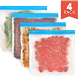4 Pack - Reusable Storage Bags for Food - Durable and Leakproof For Home, Work and Travel - EXTRA THICK Gallon Size Reusable Baggies