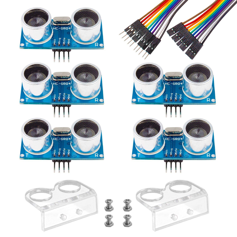Smraza 5pcs Ultrasonic Module HC-SR04 Distance Sensor with 2pcs Mounting Bracket for Arduino UNO MEGA R3 Mega2560 Duemilanove Nano Robot XBee ZigBee S03