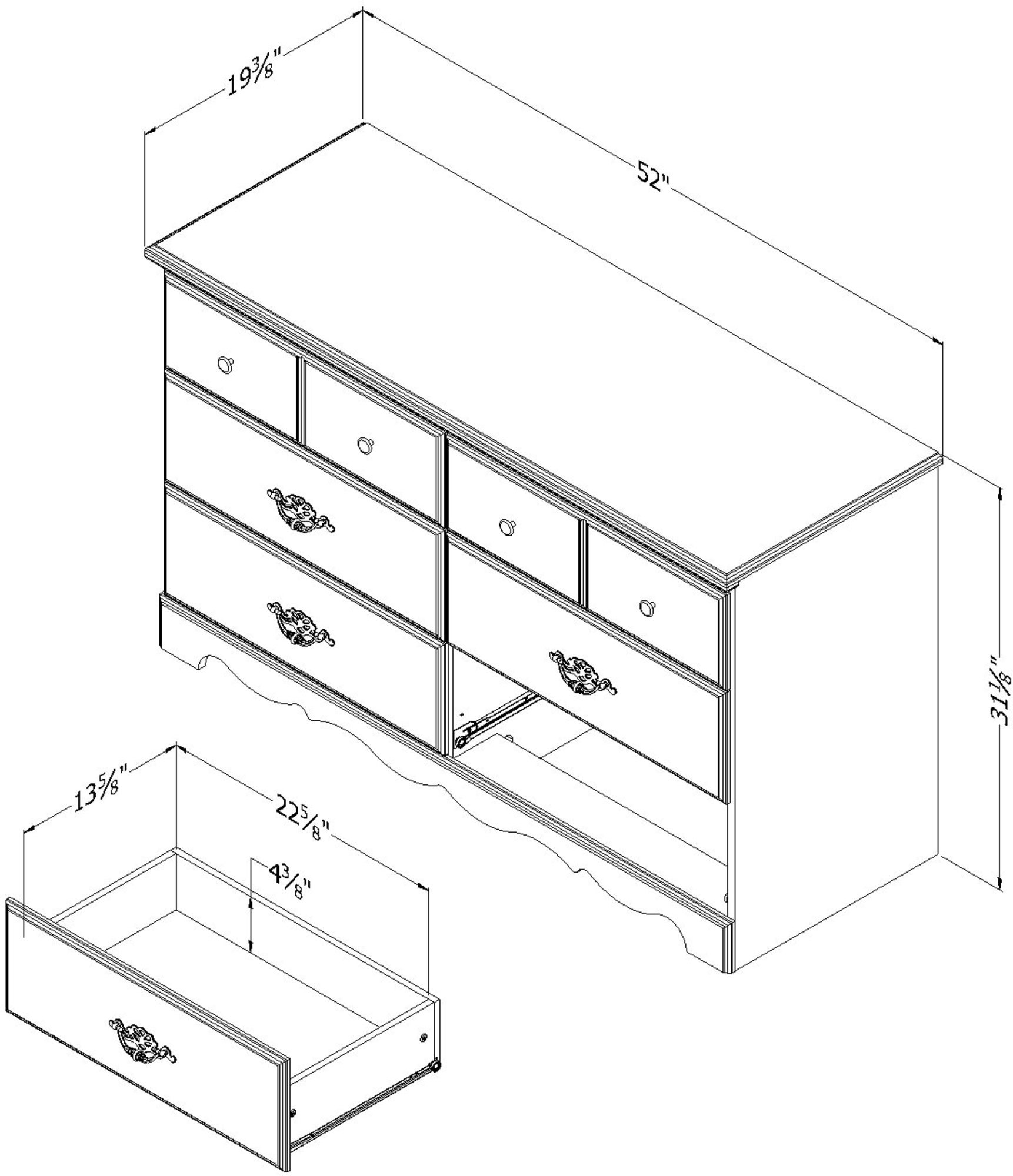 South Shore Furniture, Prairie Collection, 6 Drawer Double Dresser, Country Pine