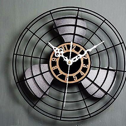 KHSKX Antiguo reloj de pared ventilador eléctrico del ventilador es de estilo europeo y relojes antiguos