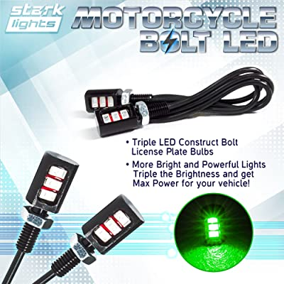 Car/Motorcycle License LED Bolt Screw - Triple Row SMD - High Power License Plate LED Light - Green: Automotive