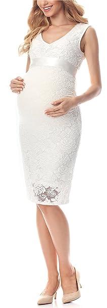 Be Mammy Premamá Vestido de Encaje Elegante Embarazo Maternidad Ropa de Verano Mujer BE20-232