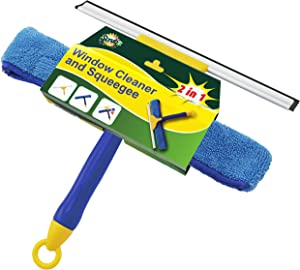 Professional Window Cleaning Combo Tool by SCRUBIT – 2 in 1 Window Cleaner Kit Includes 12.5 Inch Microfiber Scrubber Pad and Window Squeegee – Washing Supplies for Windows and Glass Shower Doors
