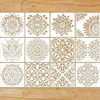12 Pieces Large Reusable Mandala Stencil Painting on Wood DIY Design 12 Inch Templates Scrapbooking Painting for Wall…
