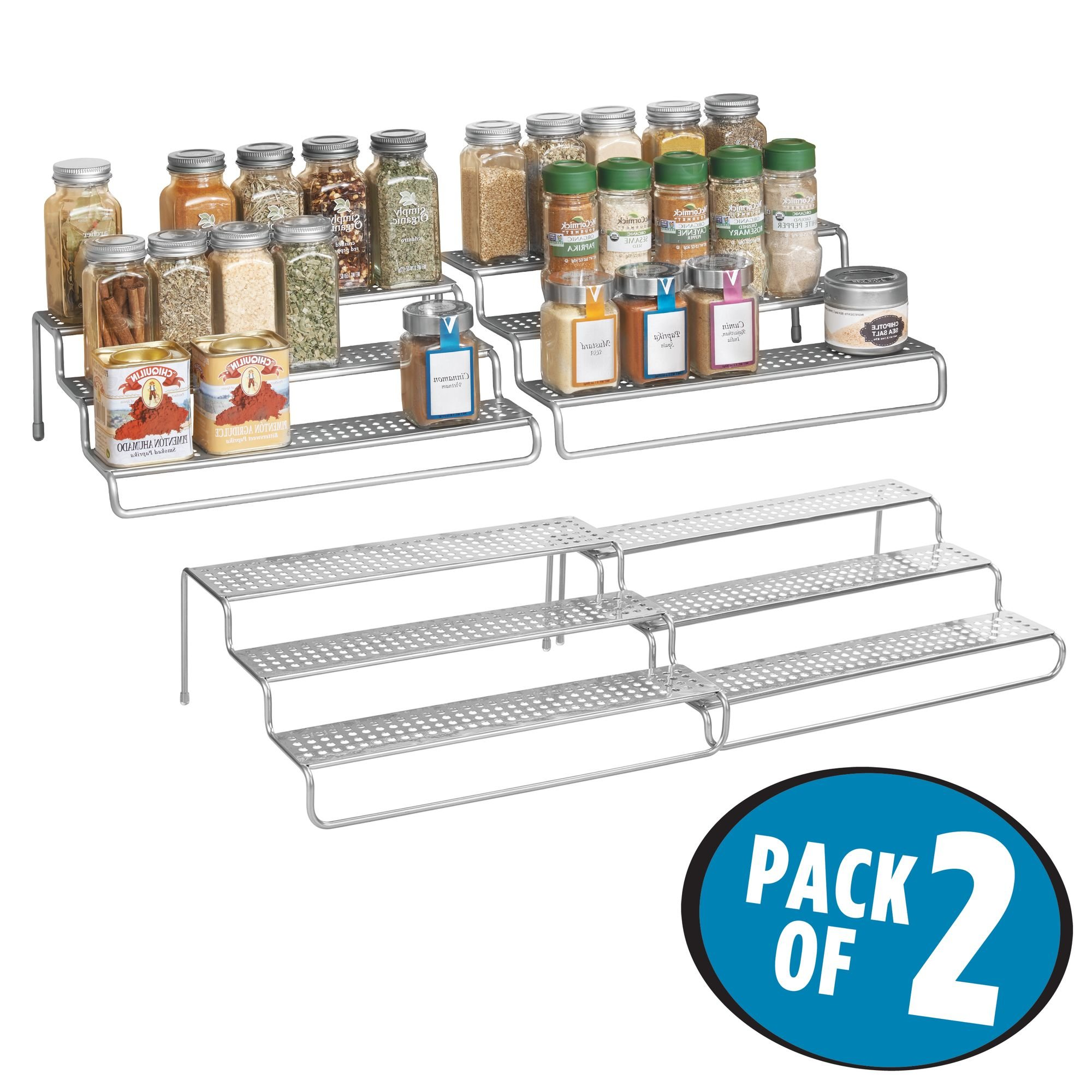 mDesign Adjustable, Expandable Kitchen Cabinet, Pantry, Shelf Organizer/Spice Rack - 3 Level Storage - Up to 25'' Wide, Pack of 2, Silver Finish