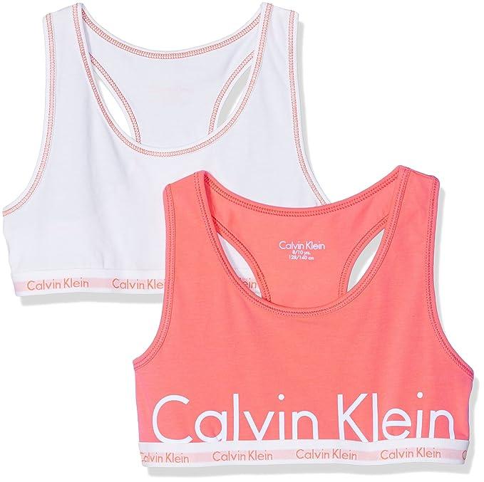 Calvin Klein 2PK Bralette, Bralette para Niñas, Naranja (White/Bright Nectar Lg), 4-5 años: Amazon.es: Ropa y accesorios