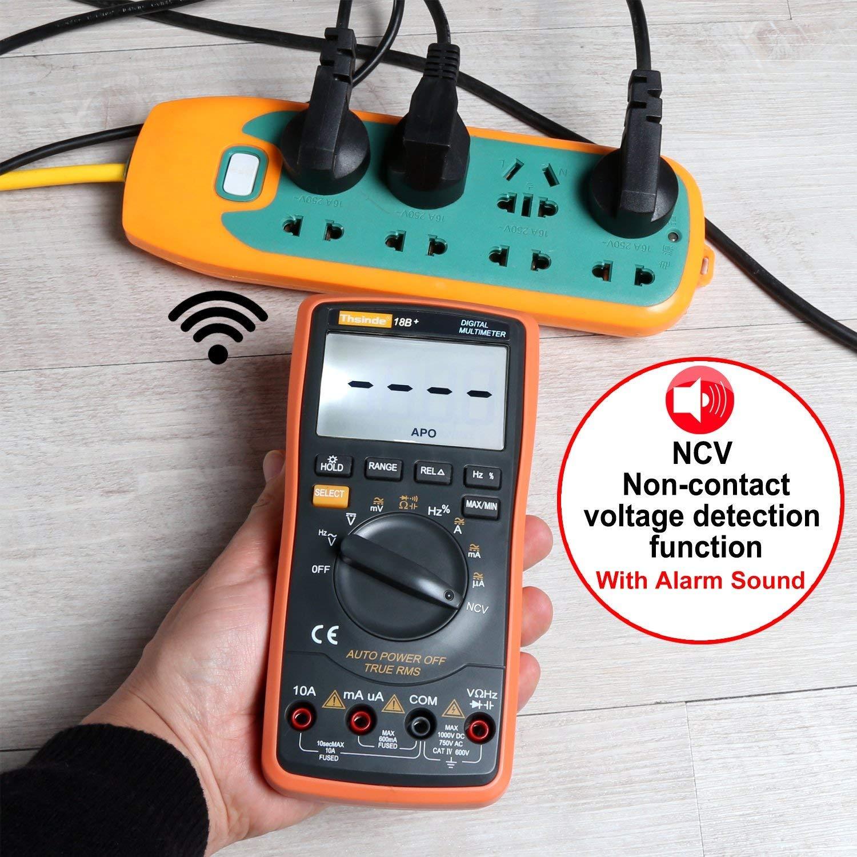 Digital Multimeter mit Automatischer Bereichswahl hintergrundbeleuchtetem Z/ähler Multitestger/ät Spannungspr/üfer Automatisch Umschaltendes Elektronisches Messger/ät