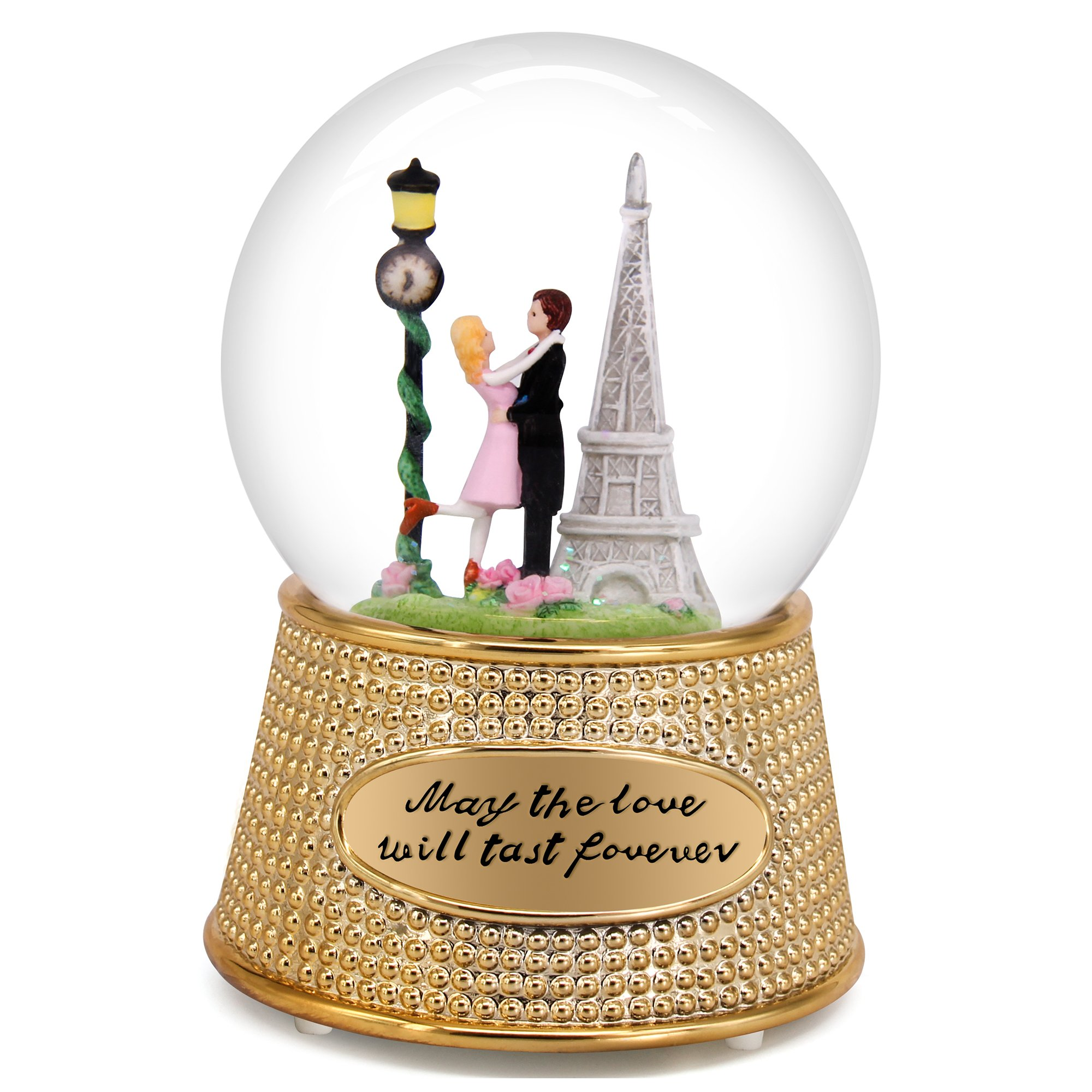 QTMY Musical Snow Globes Ornament Couple Lovers Music Boxes with Led Light Sequins Christmas Gift for Her Girls