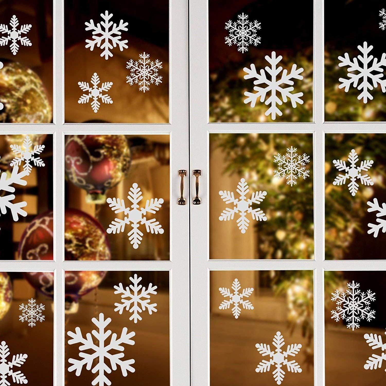 CN Culture para Ventanas Blancas, Copos de Nieve, decoración