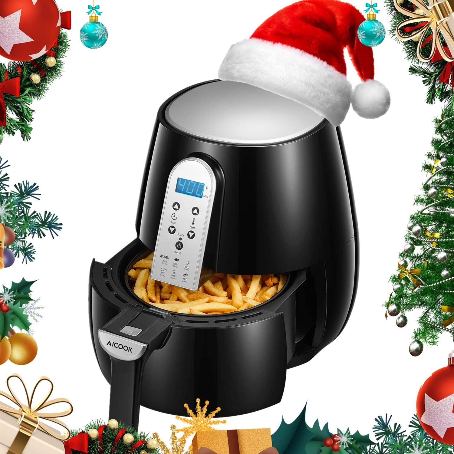 AICOOK Air Fryer, 4.5QT Electric Hot Air Fryers 1500-Watt Electric Hot XL Air Fryers Oven Oilless Cooker with LCD Digital Screen and Nonstick Frying Pot, ETL Certified with Recipes, Holiday Gift Choice