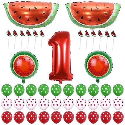 ONINIT Watermelon Theme Baby Girl Boys 1st Birthday Party Decoration Picnic Summer Fruit