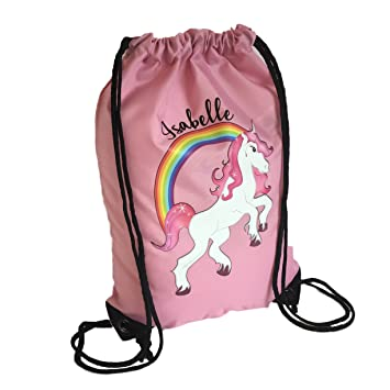 Personalised Kids PINK BAG Unicorn Drawstring Swimming School PE Bag For Girls