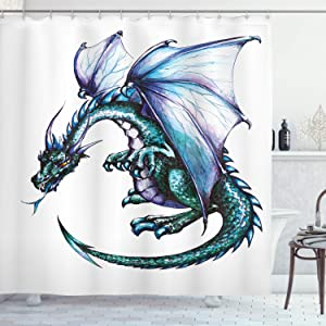 Ambesonne Dragon Shower Curtain, Epic Beast Dragon Created with Vibrant Gradient Colored Graphic Devil Image, Cloth Fabric Bathroom Decor Set with Hooks, 75