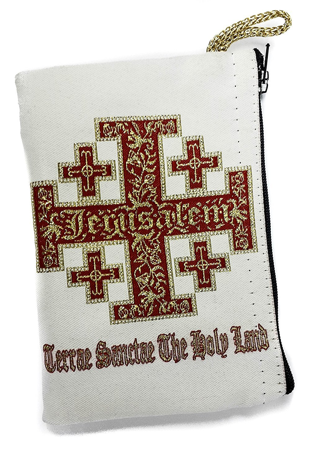 Icon Case Pouch Coin Purses Tapestry Prayer With Jerusalem Cross 5.7'' by Holy Land Gifts