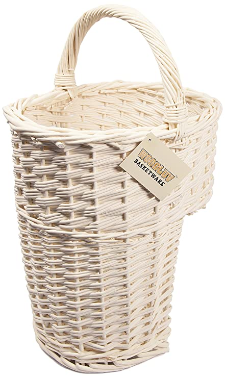 Gentil Woodluv Oval Wicker Stair Basket/Step Basket With Handle, White