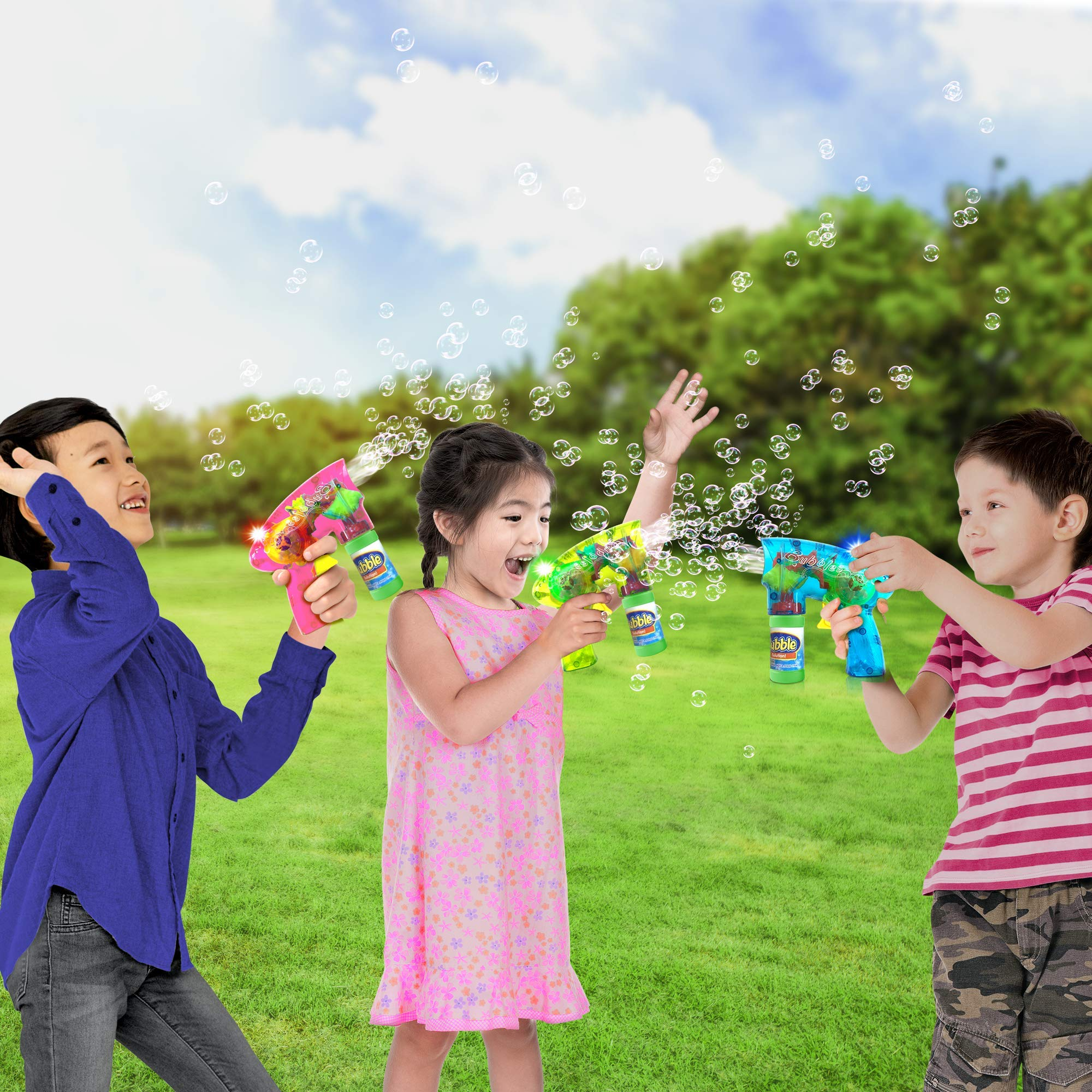 ArtCreativity Friction Powered Light Up Bubble Blaster Set (Set of 3) | Includes 3 LED Bubbles Guns & 6 Bottles of Bubble Fluid | Outdoor, Indoor Fun | Gift Idea, Party Activity | No Batteries Needed by ArtCreativity (Image #5)