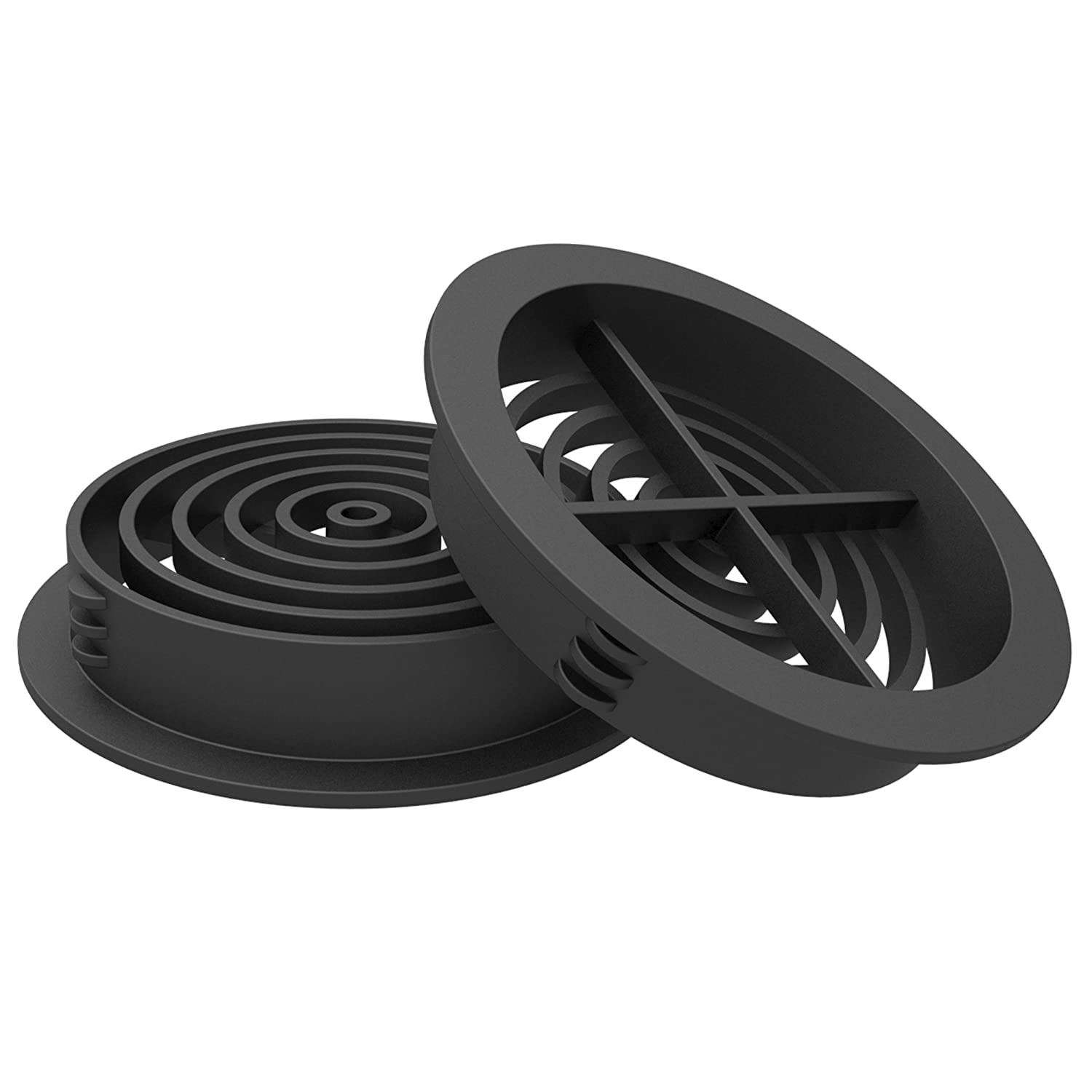 10 x 70mm Black Plastic Round Soffit Air Vents/Upvc Push in Roof Disc/Fascia Manthorpe