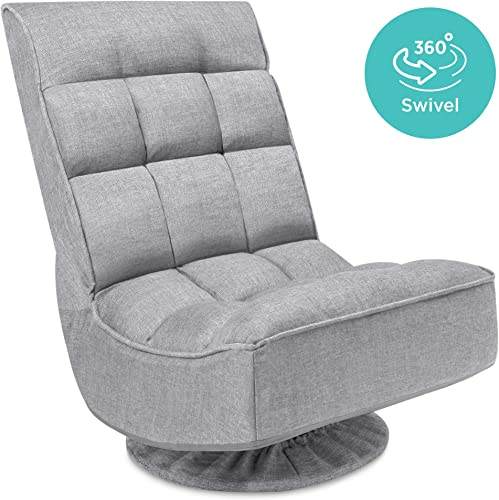 Best Choice Products Reclining Folding Floor Gaming Chair for Home, Office, Lounging, Reading w 360-Degree Swivel, 4 Adjustable Positions, Tufted Cushions – Gray