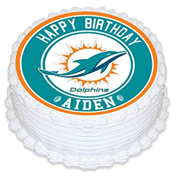 Miami Dolphins Edible Image Cake Topper Personalized Birthday 8 ...