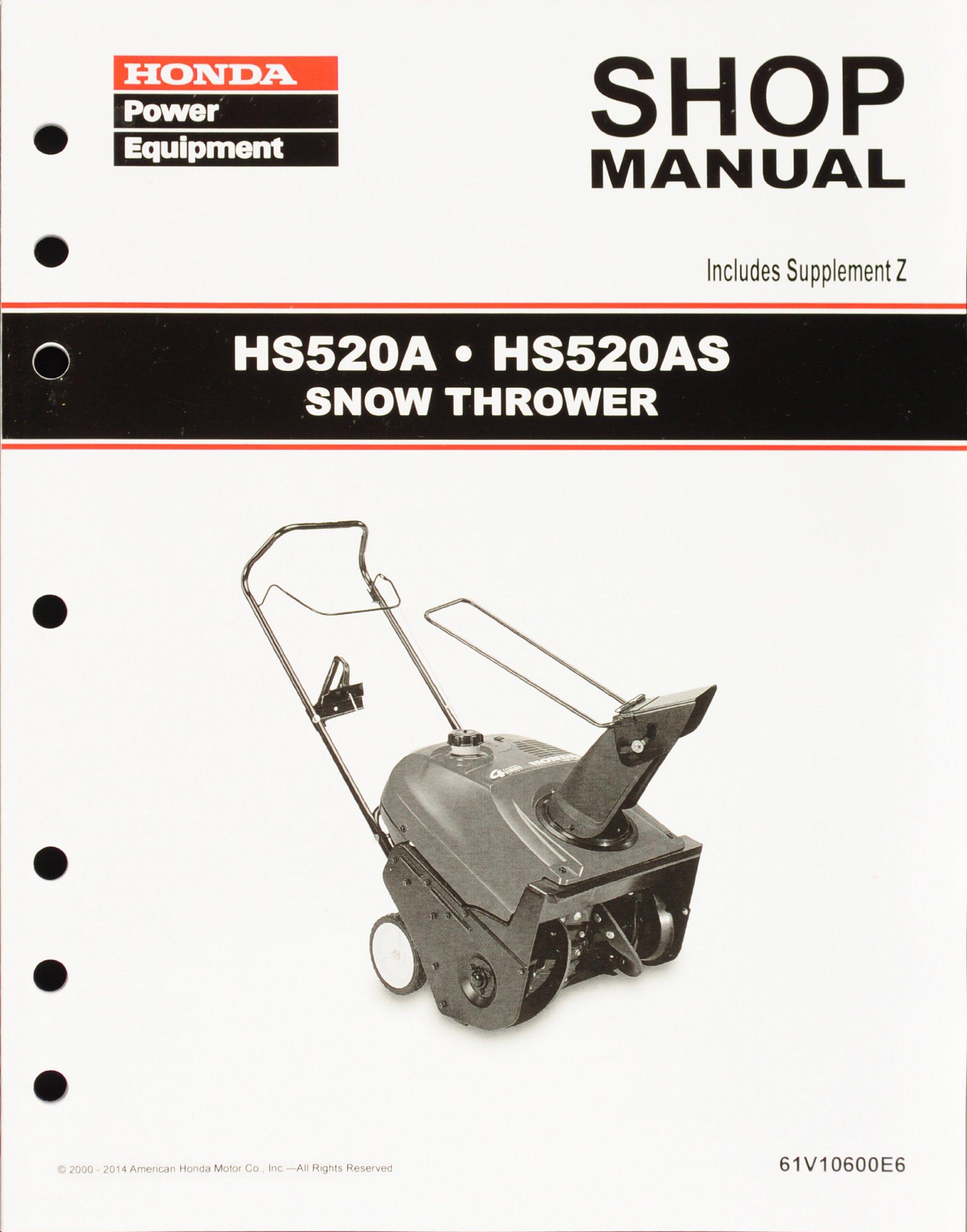 Honda HS520 Snow Blow Throw Service Repair Shop Manual