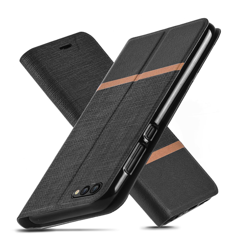 Cover Huawei Honor 10, Cavalletto, Slot per scheda, TPU, Anti-graffio, Cassa del raccoglitore dell'unità di elaborazione del cuoio di vibrazione per Huawei Honor 10 (Blu)