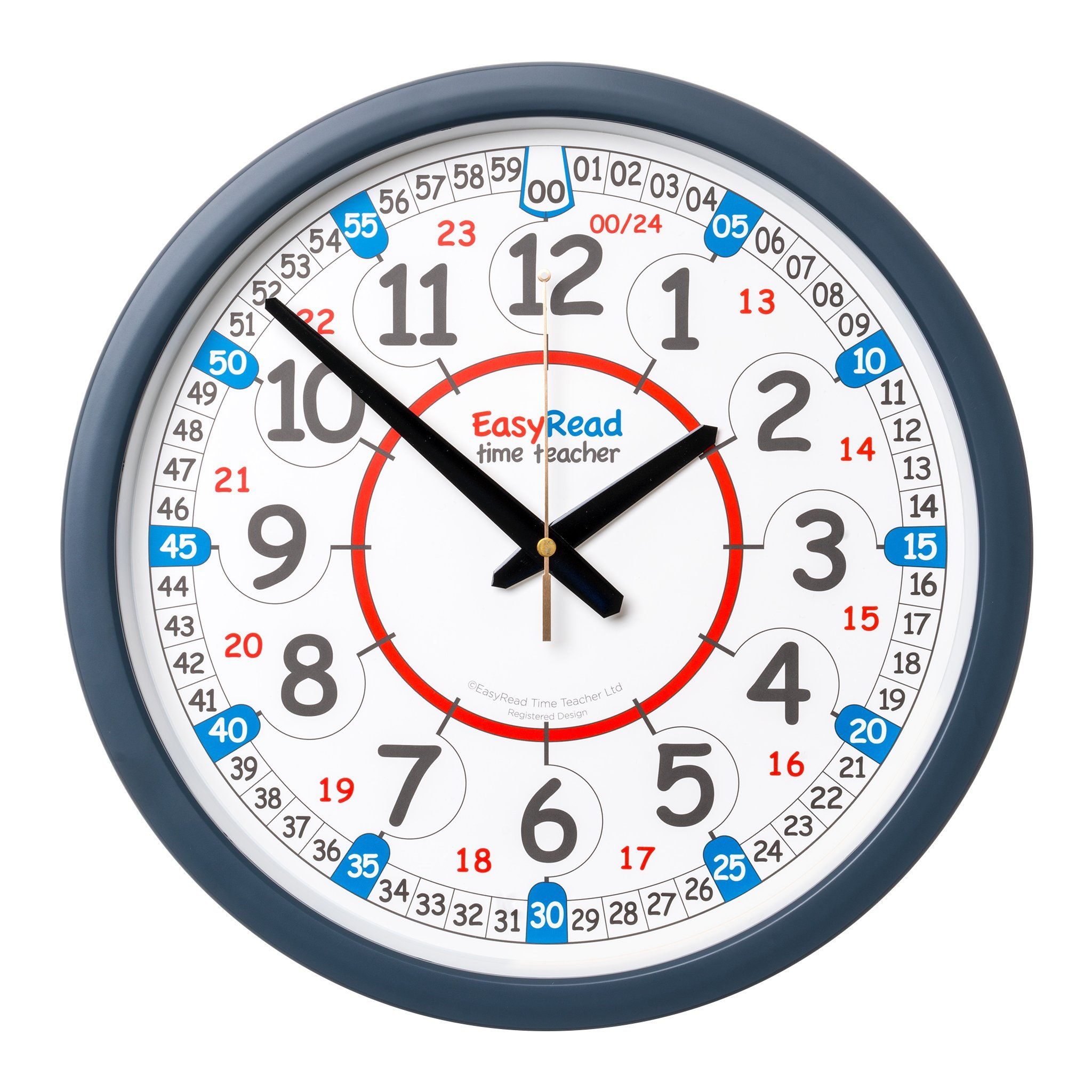 EasyRead Time Teacher Children's Classroom Wall Clock showing 12 & 24 hour time, 14'' diameter