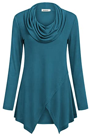ebd2413ce7d Amazon.com  Nandashe Women Long Sleeve Tunic Shirt Cowl Neck ...