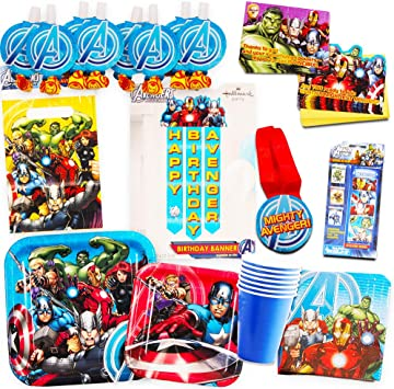 Marvel Avengers Party Supplies Ultimate Set (10 Pieces) -- Party Favors,  Birthday Party Decorations, Plates, Cups, Napkins, Invitations and More!